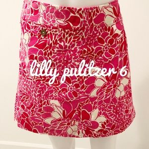 Lilly pulitzer 6 mini skirt pink and red